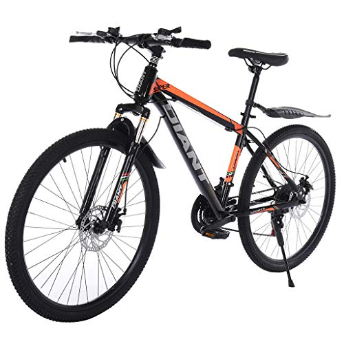 High Carbon Steel Outroad Mountain Bike - 26in 21 Speed Full Suspension MTB, Outdoor Bike with Lightweight Steel Hardtail Frame, for All Weather Conditions, Great Gift for Adults Teens (Black)