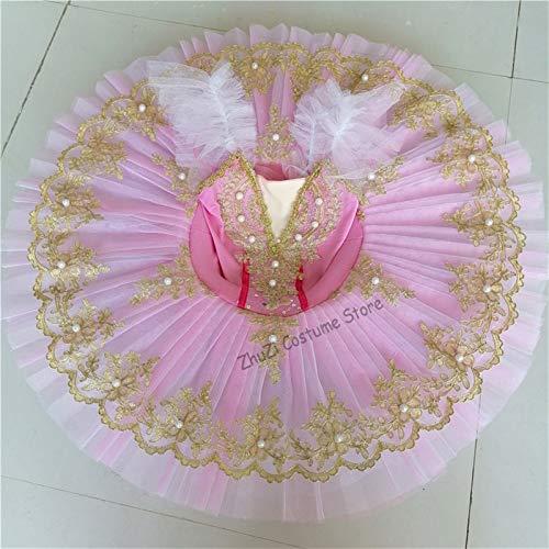JIANMIN Disfraz de ballet profesional para niñas, disfraz de ballet clásico, tutú de ballet para niño y niña adulta, princesa, panqueque, tutú, danza, vestido de ballet para niña