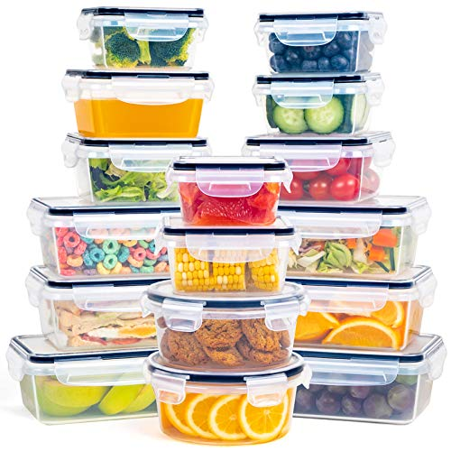 Food Storage Container Set - 16 Piece Airtight Plastic Storage Containers with Lids, Leak Proof Snap Lock, BPA Free, Microwave and Dishwasher Safe - FOOYOO