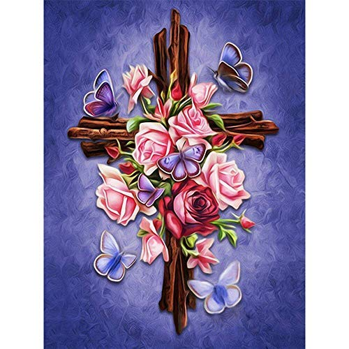 Full Drill Diamond Painting Cross by Number Kits, 5D DIY Diamond Embroidery Crystal Rhinestone Cross Stitch Mosaic Paintings Arts Craft for Home Wall Decor (30X40CM)