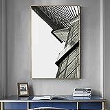 Lunderliny Póster De Lienzo De Arquitectura Retro Nórdica Cuadros Abstractos De Pared En Blanco Y Negro para La Pintura De La Entrada De La Sala De Estar Arte De Pared Moderno 40x60cm