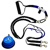 "Pet Fit For Life Light Weight 64"" Premium Dual Dog Leash with Comfortable Soft Grip Foam Rubber Handle and Integrated Shock Absorbing Bungee + Bonus Water Bowl for Medium Sized Dogs"