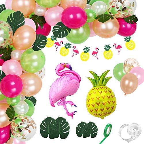Xiangmall 103 Pezzi Arch Ghirlanda di Palloncini Tropicali Palloncini Flamingo Ananas Banner Foglie di Palma per Decorazioni Festa Hawaiana Compleanno Baby Shower (103 Pcs)
