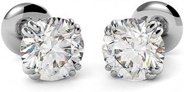 Boucles d'oreilles à tige en or blanc massif 14 carats avec diamant rond de 4 carats