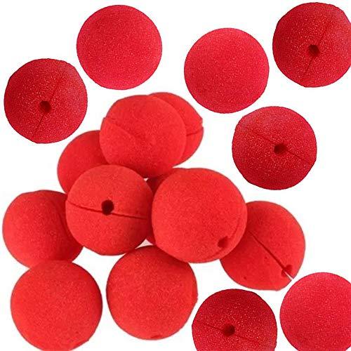Xinlie 30 Stück Clown-Nase Schaumstoff Rot Red Nose Day Party Rote Clownnase Rot Clownsnasen Clown-Nase aus Schaumstoff in rot für Fasching Karneval oder andere Mottopartys  Durchmesser ca. 5cm 