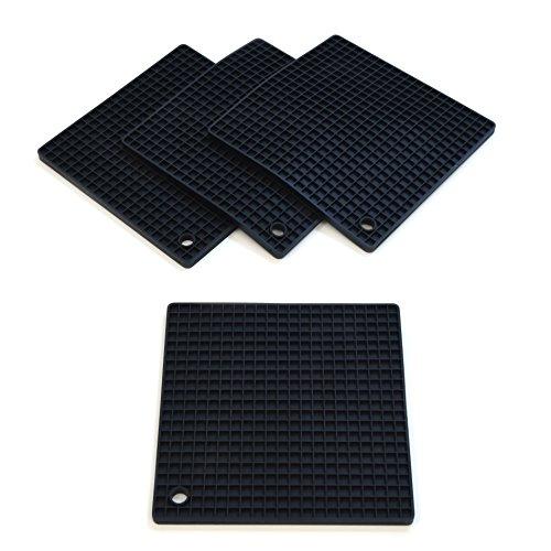 Coastee - Dessous de plat/Maniques/Séparateurs pour poêles - résistants à la chaleur/lavables au lave-vaisselle/moderne/sobre - silicone - noir - lot de 4