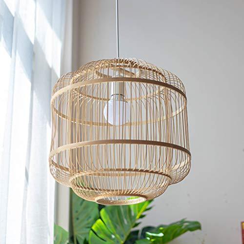 Pointhx Lámpara de techo japonesa de bambú de arte E27, 1 luz, de bambú tejiendo decoración colgante de la escalera de la cafetería cocina isla iluminación
