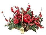 MLD Cesta de Navidad con diseño floral de manzana