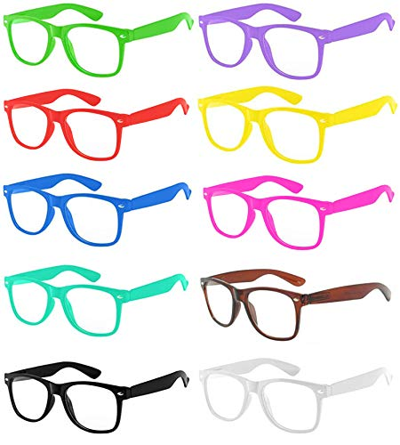 10 Pairs Retro 80's Clear Lens Glasses, Multi Colored