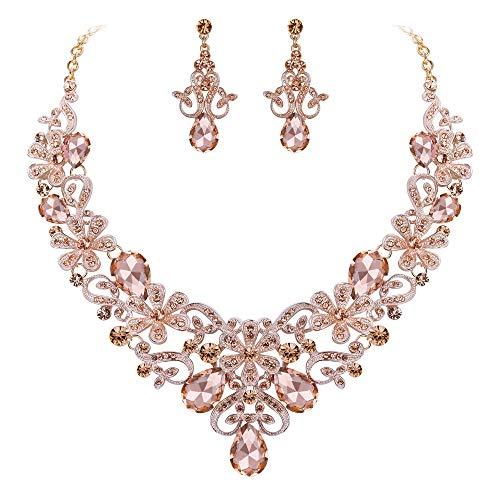 BriLove Women's Costume Elegant Crystal Flower Scroll Teardrop Statement Necklace Dangle Earrings Set Peach Morganite Color Rose-Gold-Toned (0.28 Ounce Color)
