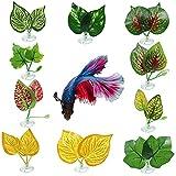 10 unidades Betta Leaf Hamaca, suave y grande, almohadilla de hojas de betta de color azul, hoja de cama, hamaca de seda para peces betta, soporte de hojas betta para acuarios de peces tropicales