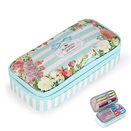 BTSKY Floral Pencil Case with Compartments -High Capacity Double Layers Pencil Pouch Stationery Organizer Multifunction Cosmetic Makeup Bag for Girls, Perfect Holder for Pencils and Pens (Light Blue)