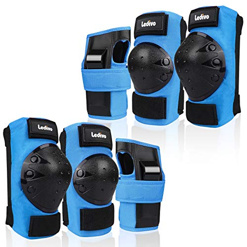 Ledivo Gear Set Adult/Youth/Child Knee Pads Elbow Pads Wrist Guards for Multi Sports Skateboarding Inline Roller Skating Cycling Biking BMX Bicycle Scooter