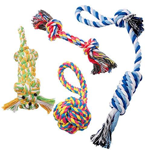 Pecute Juguetes de Cuerda para Perros 4 Piezas de Algodón Cuerda Duradera Dientes Cuidado para Pequeñas y Medianas Perros