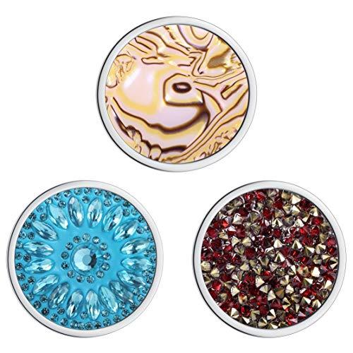 Meilanty Damen Halskette Anhänger 3 Coin 33mm für Münzfassungen Edelstahl Schmuckmünzensatz 3GP-0154