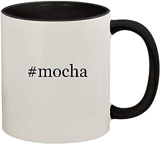 #mocha - 11oz Ceramic Colored Handle and Inside Coffee Mug Cup, Black