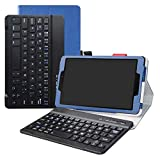 lfdz cover samsung tab a 8.0 tastiera bluetooth,in pelle pu custodia con tastiera bluetooth wireless removibile custodia protettiva flip per 8.0 samsung galaxy tab a 8.0 sm-p200 / p205 2019,blu