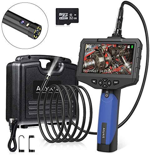 Anykit Doppelkopfkamera Endoskopkamera,1080P Wasserdichtes Endoskop, 4,5 -Zoll -Farb-IPS-Bildschirm, Inspektionskamera mit 6 LED, Halbstarrem Kabel, 32GB TF Karte, Werkzeugkasten (3 Meter Langer)