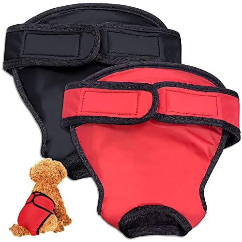 HORYDIA Hundewindeln Für Hündinnen Verstellbar Auslaufsicher Wiederverwendbare Höschen Für Hunde Läufigkeit Hygienehöschen Waschbare Unterwäsche. (AQK1, XL)