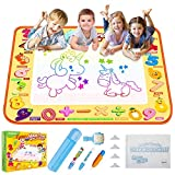TECBOSS Water Drawing Mat,Aqua Educational Magic Doodle Mat Large Mess Free Kids Painting Writing Doodle Board Christmas Birthday Gift Toys for Age 2 3 4 5 Years Old Girls Boys Toddler