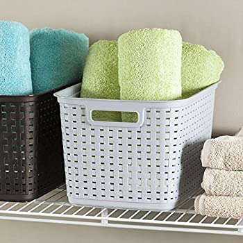 Sterilite 12736A06 Tall Weave Basket Cement 6-Pack