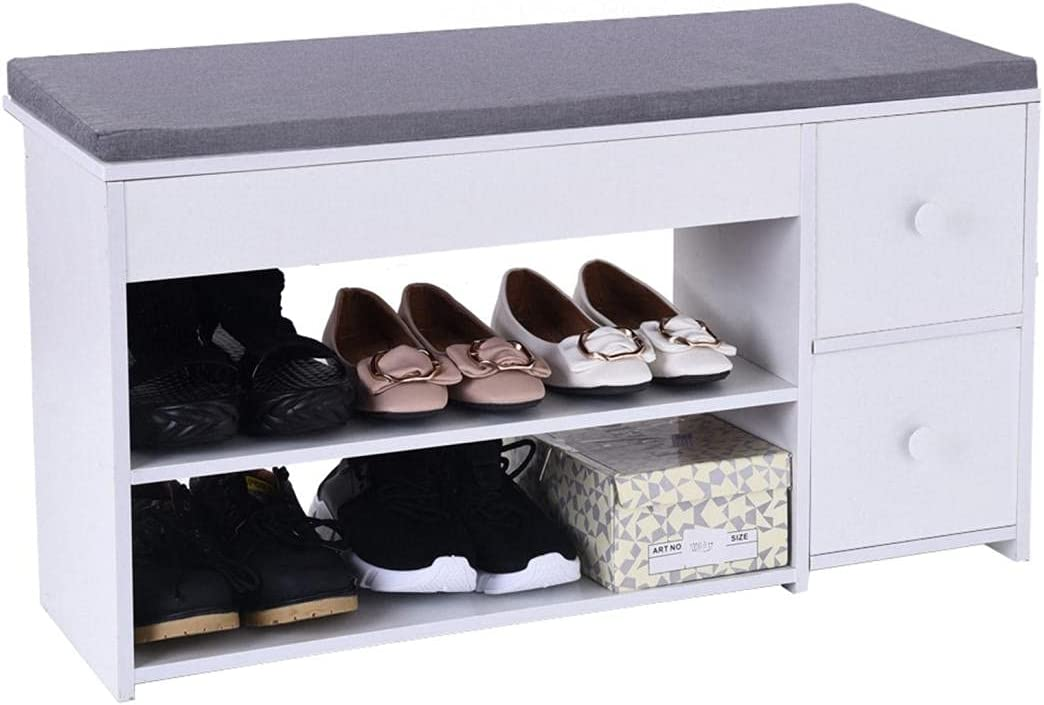 WujiJia 2-Tier Shoes Storage Bench: Seat Entryway S Clearance SALE! Limited time! Cushion with Max 81% OFF