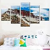 5 piezas de lienzo abstracto de pared modular imágenes de póster abstracto dental impresiones de pintura decoración del hogar obras de sala de estar-200 * 100 cm-enmarcado