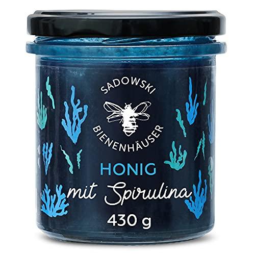 SADOWSKI BIENENHÄUSER Natürliches Blaue Mehr-Blüten-Honig mit Spirulina   Natural Nektar von Premium Honig-Waben   Für Sandwiches, Haferflocken, Desserts, Smoothies und Tee   430 g