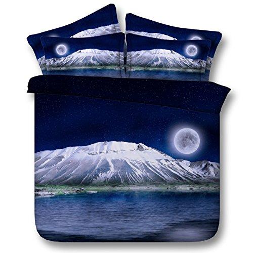 Personne Housse de Couette en Polyester Snowy Mountain sous Le Motif Moonlight avec literie, y Compris 2 taies d'oreiller et 1 Housse de Couette, 260 * 225
