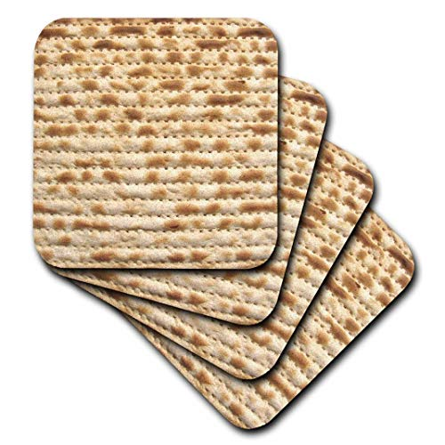 3dRose Matzah Bread Texture Photo - for Passover Pesach - Funny Jewish Humor - Humorous Matzo Judaism Food - Soft Coasters, Set of 4 (CST_112943_1)