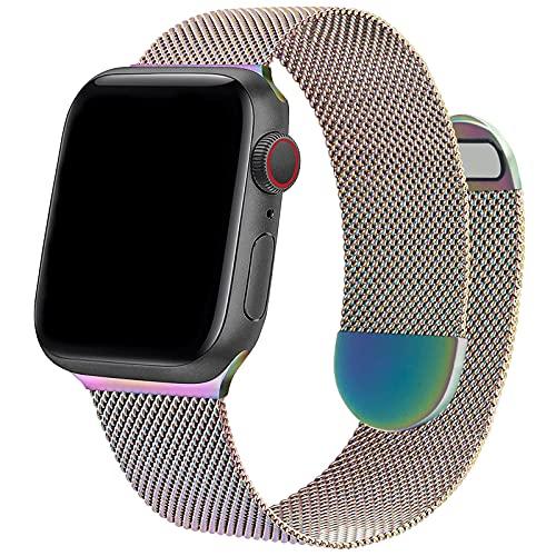 Compatible con correas de reloj Apple de 38 mm y 40 mm ONELANKS con correa magnética de doble cara de acero inoxidable para iWatch Series 6 5 SE 4 3 2 1 para mujeres y hombres