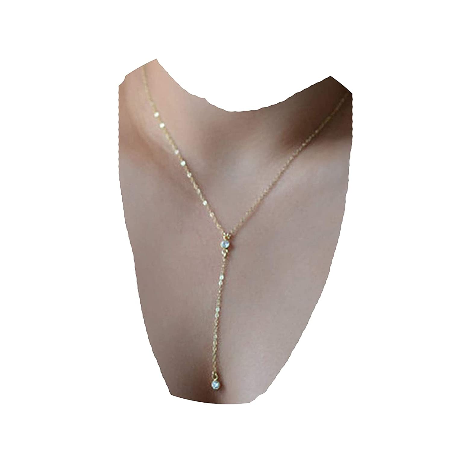 Yheakne Boho Layered Crystal Necklace Choker Gold Long Y Necklace Chain Minimalist Cz Lariat Necklace Simple Y Lariat Necklace Jewelry for Women and Girls (Gold)