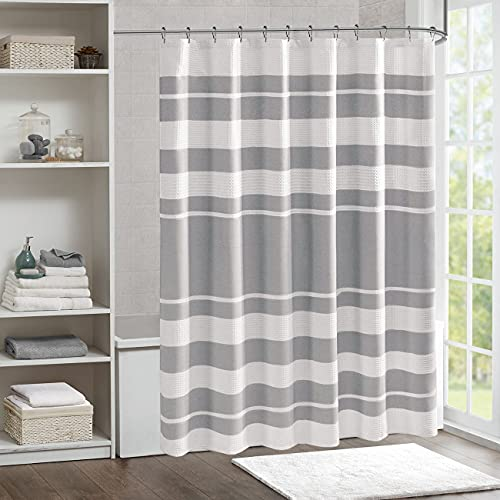 DOSLY IDÉES Gray Striped Spa Waffle Shower Curtain,White Shower Curtain Waffle Texture,Solid Waterproof Fabric,Modern Farmhouse Bathroom Decorations,72x72 in