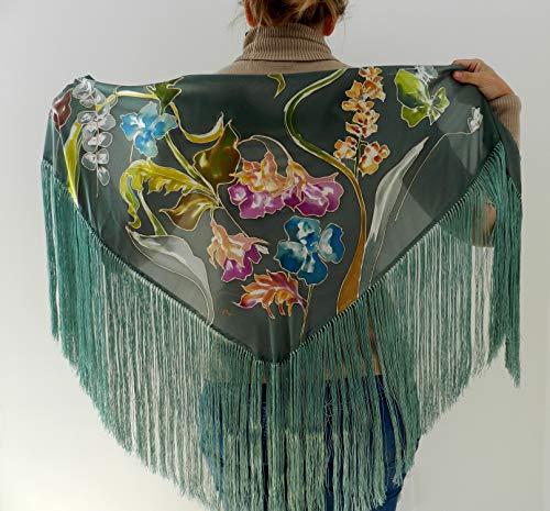 Mantón de seda pintado a mano ✅