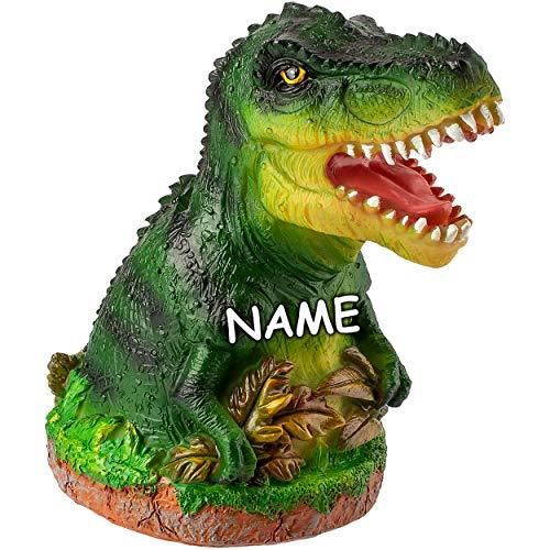 alles-meine.de GmbH große XL - Spardose - Motivwahl - 16 cm - Dino / Dinosaurier - mit Verschluss - incl. Name - stabile Sparbüchse - aus Kunstharz / Polystone - Sparschwein - fü..