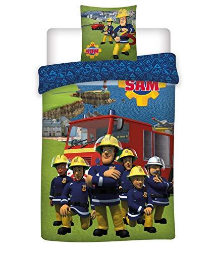 BrandMac Bettwäsche-Set Feuerwehrmann Sam, 135 x 200 cm 80 x 80 cm, 100% Baumwolle