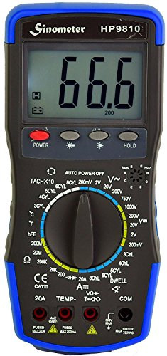 Sinometer HP9810 Automotive Digital Multimeter with Thermometer and Carrying Case