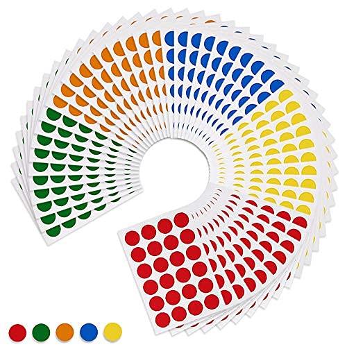JZLMF Etiquetas de lunares codificadas por color, 5, 1200 tipos de paquetes
