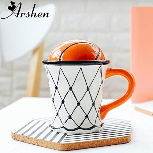 LASISZ 500ML Nette Kreative Kaffeemilch Tasse Basketball Fußball Muster Frühstück Haferflocken EIS Tee Kaffeetasse mit Handgriff, Schuss