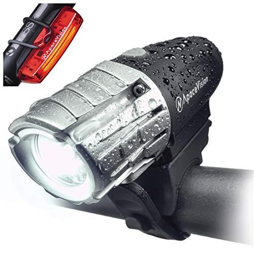 Set De Luces para Bicicleta Recargable USB Eagle Eye De Apace - Potente Faro Y Luz Trasera LED De 300 Lúmenes - Luz Delantera Y Luz Trasera Superbrillantes para Una Óptima Seguridad en Bici