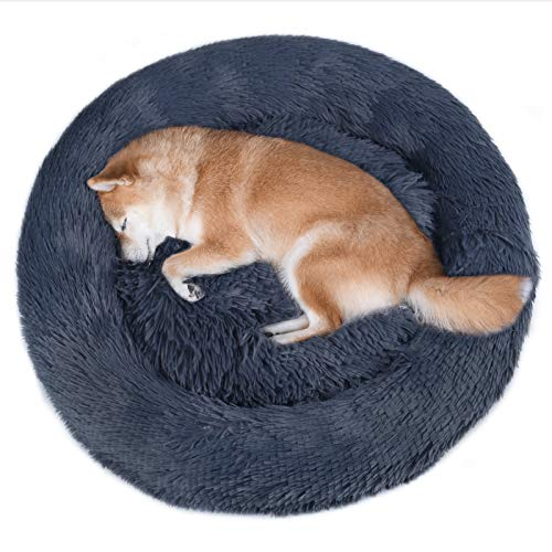 Vivaglory Fur Donut Cuddler, Washable Dog Bed, Self-Warming Dog Cat Bed with Thick Raised Edge, Suitable for Cats & Medium Dog, Light Taupe, L (36.2''Dx8''H)