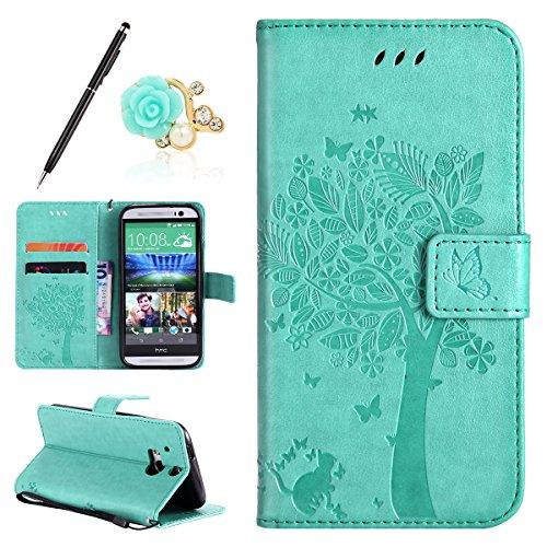 Uposao Kompatibel mit HTC One M8 Leder Hülle PU Leder Flip Tasche Prägung Baum Blumen Ledertasche Wallet Handyhülle Tasche Schutzhülle Handy Tasche Cover Brieftasche Hülle,Grün