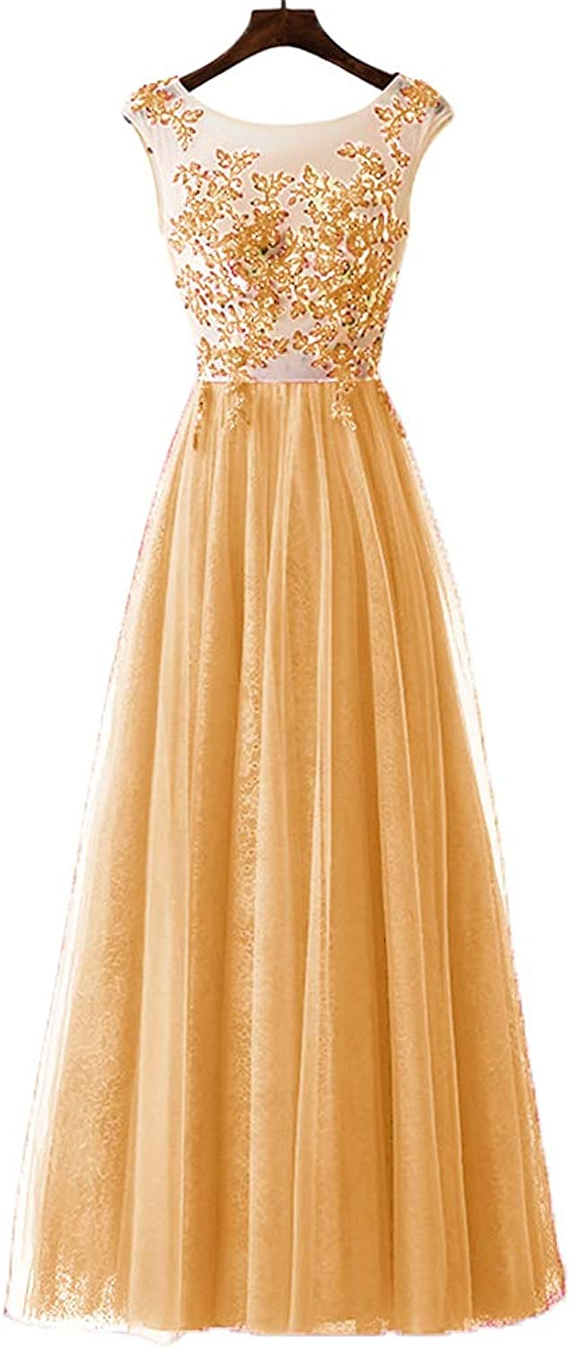 CLOTHSURE Women Lace Applique Tulle Bridesmaid Dresses Sleeveless Tulle Prom Cocktail Dresses for Girls