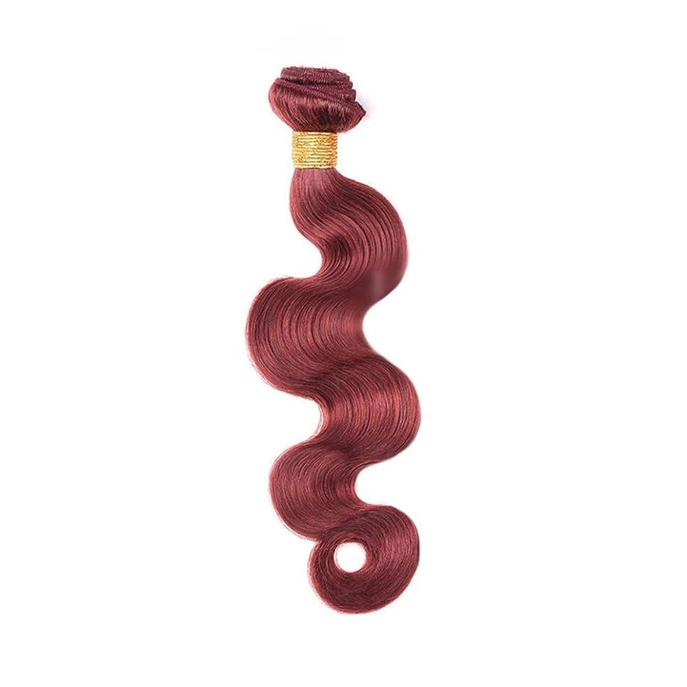 泣き叫ぶ以来周波数Yrattary 実体波ヘアエクステンションブラジルの人間の髪の毛100g / 1バンドル髪の織り方よこ糸 - 33#ブラウンレッド色(10