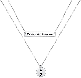 Semicolon Necklace S925 Sterling Silver My Story Isn't Over Yet Semicolon Heart Pendant Choker Necklace