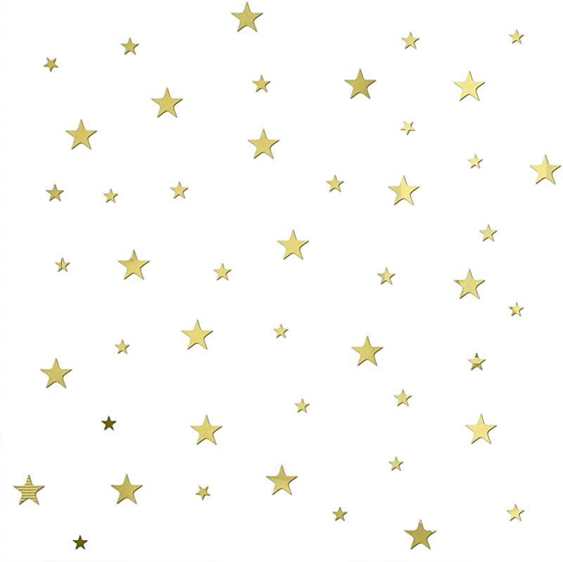 Baofengxue Stars 47 Pieces 3D Mirror Crystal Wall Stickers Acrylic Five Pointed Star DIY Detachable Bedroom Living Room Children S Room Wall Decoration Gold