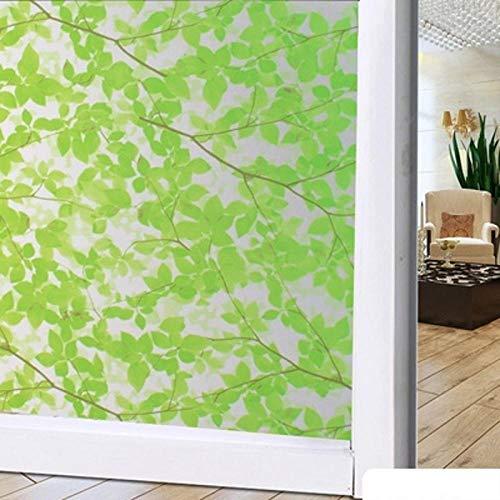 KUNHAN raamsticker raamfolie blad groen glas mat balkon deuren en Windows anti-statische sticker opaak zonwering sticker 200cm