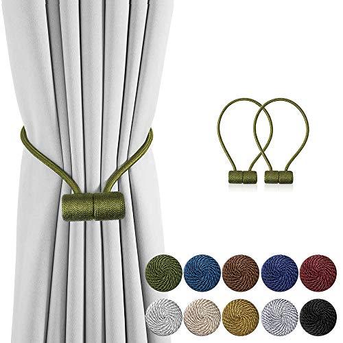 DELISIxx 2 Stück magnetische Vorhang-Raffhalter, 40,6 cm, dekorative Vorhanghalterungen für Fensterdekoration 2 pack olivgrün