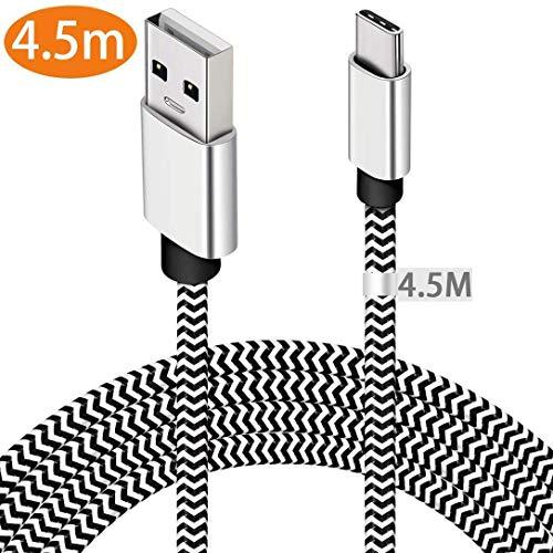 USB C Kabel 4.5M, Extra Lang USB Typ C Kabel Nylon Geflochten Langlebige Ladekabel Typ C Daten Sync Für Samsung S20/S10 Note 10, LG G6/G5, Sony Xperia XZ, Nexus 6P, Huawei P30/P20, MacBook, Switch