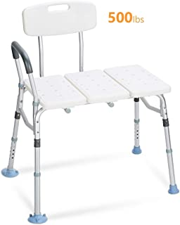 OasisSpace Tub Transfer Bench 500lb- Heavy Duty Bath & Shower Transfer Bench - Adjustable Handicap Shower Chair with Reversible Backrest - Medical Bathroom Aid for Disabled, Seniors, Bariatric(500lb)